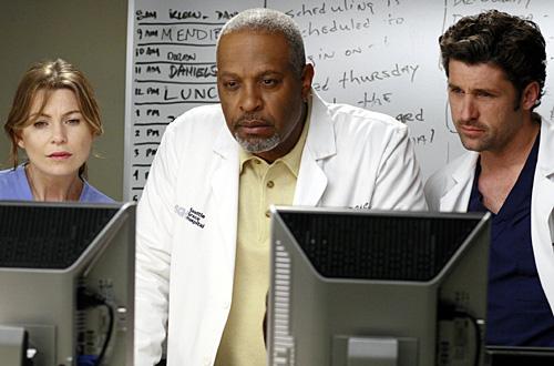 Grey's Anatomy...  Ellen Pompeo, James Pickins Jr. and Patrick Dempsey
