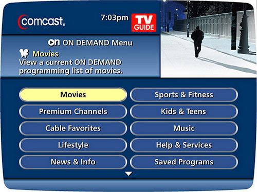 COMCAST ON DEMAND Menu Example