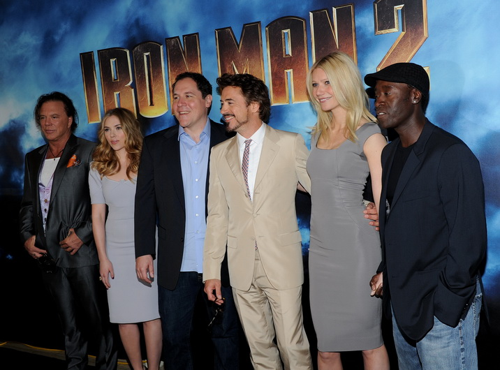 (L-R) Actor Mickey Rourke, actress Scarlett Johansson, director Jon Favreau, actor Robert Downey Jr., actress Gwenyth Paltrow and actor Don Cheadle attend the photo call for Paramount Picture's and Marvel Entertainment's