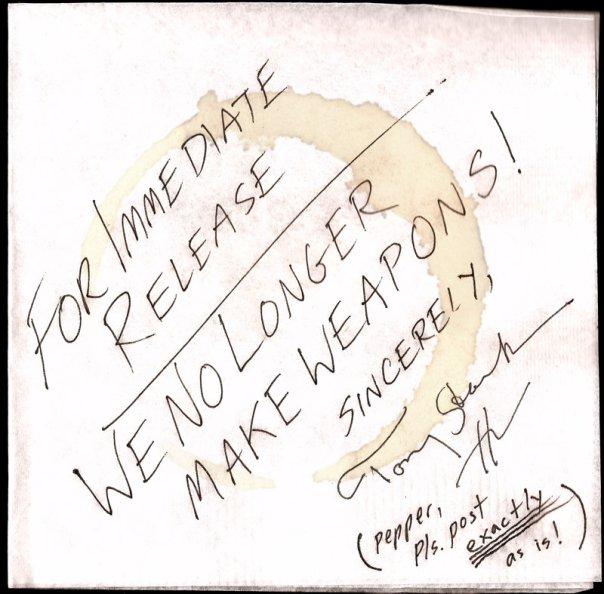 IRON MAN 2 Napkin Note