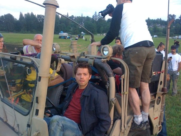 Misha Collins on the set of STONEHENGE APOCALYSPE for Syfy