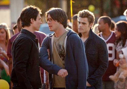 Ian Somerhalder as Damon, Steven R. McQueen as Jeremy, Paul Wesley as Stefan in THE VAMPIRE DIARIES on The CW.