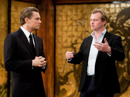 INCEPTION L-R Leonardo DiCaprio and Christopher Nolan