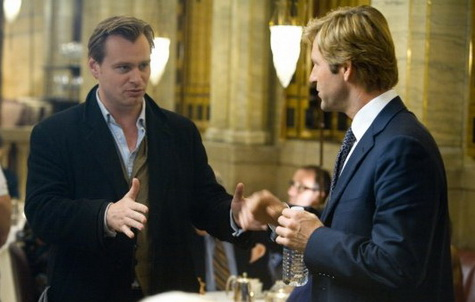 Christopher Noland and Aaron Eckhart on set of THE DARK KNIGHT