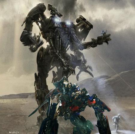 Transformers vs Skynets Terminators - Optimus Prime and a harvester