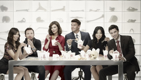 BONES: L-R: Michaela Conlin, TJ Thyne, Emily Deschanel, David Boreanaz, Tamara Taylor and  John Francis Daley. The sixth season of BONES premieres Thursday, Sept. 23