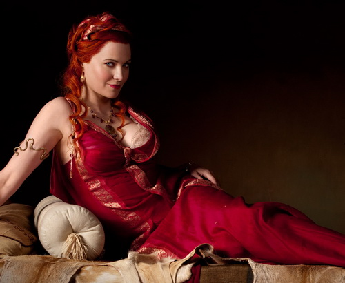 Lucy Lawless as Lucretia in Spartacus Blood and Sand promo art