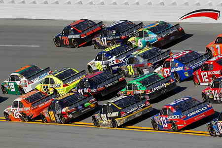 Four Wide NASCAR Cup Series racing at 200 mph