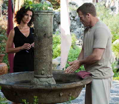 "HUMAN TARGET: Chance's (Mark Valley, L) daily meditation is interrupted by Ilsa Pucci in the HUMAN TARGET Season Two premiere episode ""Ilsa Pucci"""
