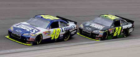 Jimmie Johnson leading team mate Jeff Gordon in NASCAR Cup Series racing