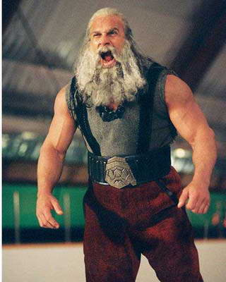 Bill Goldberg as an angry Santa demon
