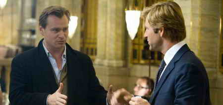 Christopher Nolan and Aaron Eckhart on set in The Dark Knight
