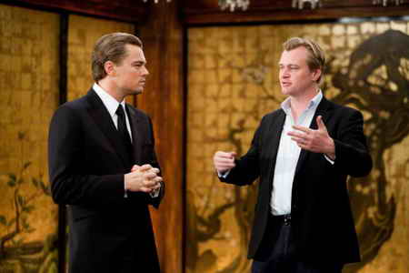 Leonardo DiCaprio and Christopher Nolan on set in Inception