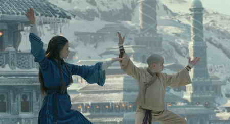Nicola Peltz and Noah Ringer in The Last Airbender