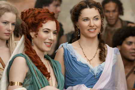 Spartacus Gods of the Arena- Episode 1-Jaime Murray as Gaia &amp; Lucy Lawless as Lucretia