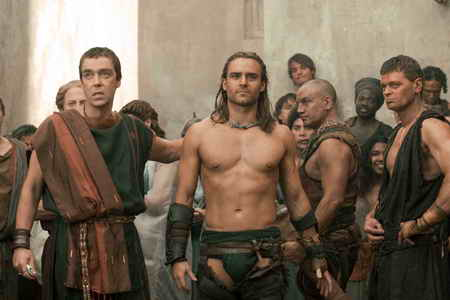 Spartacus Gods of the Arena- Episode 1-John Hannah as Batiatus &amp; Dustin Clare as Gannicus