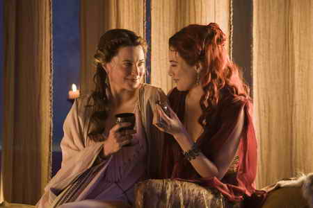Spartacus Gods of the Arena- Episode 1-Lucy Lawless as Lucretia &amp; Jaime Murray as Gaia