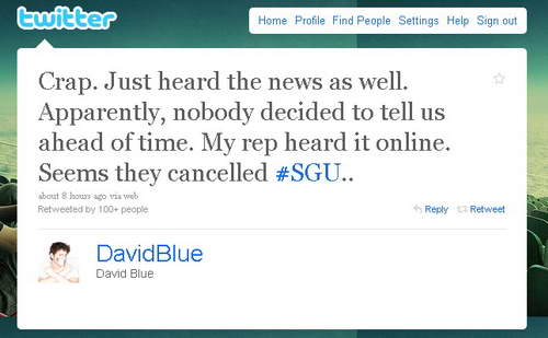 Stargate Universe cancelled, David Blue Tweet