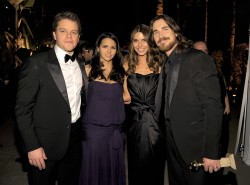 (L-R) Actor Matt Damon, wife Luciana Barroso, and Sibi Blazic actor Christian Bale arrive at The Weinstein Company and Relativity Media's 2011 Golden Globe After Party presented by Marie Claire held at The Beverly Hilton hotel on January 16, 2011 in Beverly Hills, California. (Photo by Charley Gallay/WireImage)