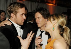 BEVERLY HILLS, CA - JANUARY 16: (L-R) Actors Ryan Gosling, Kevin Bacon, and Kyra Sedgwick attend Relativity Media and The Weinstein Company's 2011 Golden Globe Awards After Party presented by Marie Claire held at The Beverly Hilton hotel on January 16, 2011 in Beverly Hills, California. (Photo by Frazer Harrison/Getty Images for Relativity Media)