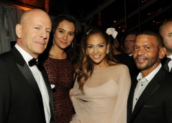 BEVERLY HILLS, CA - JANUARY 16:  (L-R) Actor Bruce Willis, Emma Heming, singer/actress Jennifer Lopez, and Benny Medina attend Relativity Media and The Weinstein Company's 2011 Golden Globe Awards After Party presented by Marie Claire held at The Beverly Hilton hotel on January 16, 2011 in Beverly Hills, California.  (Photo by Frazer Harrison/Getty Images for Relativity Media)