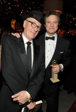 BEVERLY HILLS, CA - JANUARY 16:  Actors Geoffrey Rush (L) and Colin Firth attend Relativity Media and The Weinstein Company's 2011 Golden Globe Awards After Party presented by Marie Claire held at The Beverly Hilton hotel on January 16, 2011 in Beverly Hills, California.  (Photo by Frazer Harrison/Getty Images for Relativity Media)