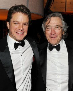 BEVERLY HILLS, CA - JANUARY 16:  Actors Matt Damon (L) and Robert De Niro attend Relativity Media and The Weinstein Company's 2011 Golden Globe Awards After Party presented by Marie Claire held at The Beverly Hilton hotel on January 16, 2011 in Beverly Hills, California.  (Photo by Frazer Harrison/Getty Images for Relativity Media)
