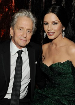 BEVERLY HILLS, CA - JANUARY 16:  Actor Michael Douglas (L) and wife actress Catherine Zeta-Jones attend Relativity Media and The Weinstein Company's 2011 Golden Globe Awards After Party presented by Marie Claire held at The Beverly Hilton hotel on January 16, 2011 in Beverly Hills, California.  (Photo by Frazer Harrison/Getty Images for Relativity Media)