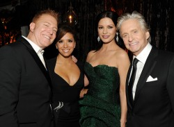 Relativity Media CEO Ryan Kavanaugh, Eva Longoria, Catherine Zeta-Jones, and Michael Douglas attends Relativity Media and The Weinstein Company's 2011 Golden Globe Awards After Party presented by Marie Claire held at The Beverly Hilton hotel on January 16, 2011 in Beverly Hills, California.