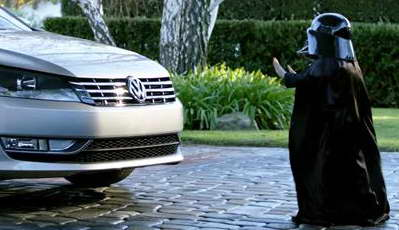 Max Page as mini Darth Vader in Volkswagen ad