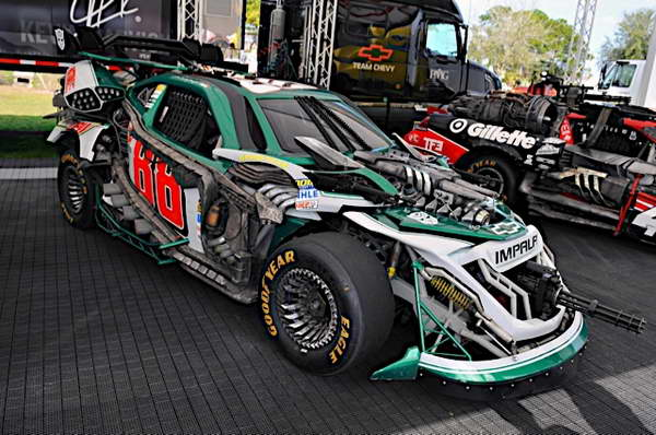 'Transformers 3' NASCAR Wrecker Roadbuster, the No 88 Dale Earnhardt Jr. Chevy at the Daytona 500