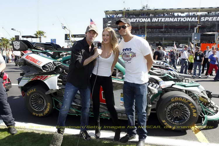 'Transformers 3' Director Michael Bay, actor Josh Duhamel and actress Rosie Huntington-Whiteley announce start the engines before the start of the Daytona 500