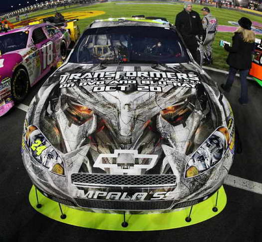 Transformers 2 Megatron on Jeff Gordon's Chevy in the NASCAR Banking 500