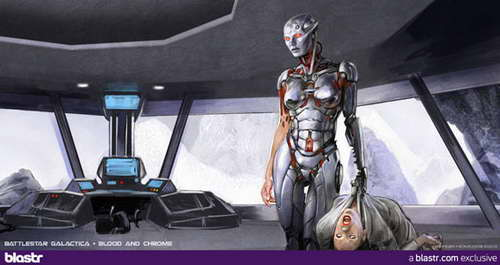 'Battlestar Galactica Blood and Chrome' cylon cyborg concept art