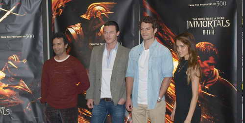 IMMORTALS L-R director Tarsem Singh, Luke Evans, Henry Cavill and Isabel Lucas