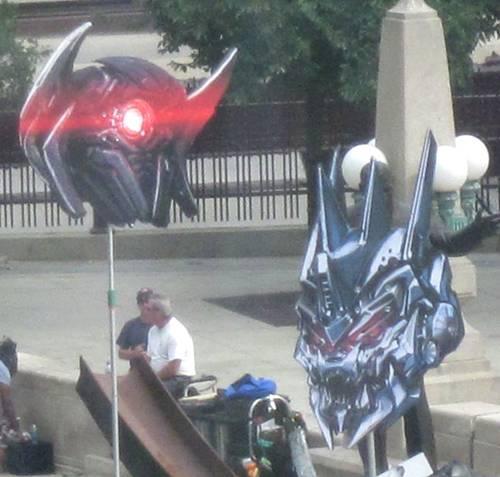 'Transformers 3' Soundwave and Shockwave prop heads on set