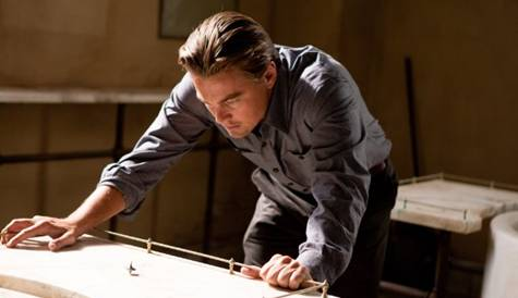 Leonardo DiCaprio in 'Inception', watching his totem spin.