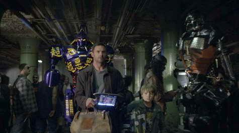 Hugh Jackman and Dakota Goyo in 'Real Steel'