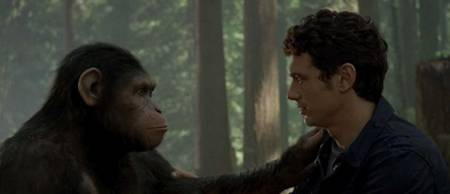 Andy Serkis as Caesar and James Franco in Rise of the Planet of the Apes