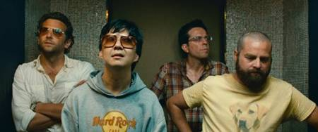 The Hangover Part II - Bradley Cooper, Zach Galifianakis, Ken Jeong and Ed Helms (in an elevator)
