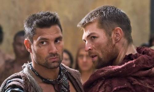 Manu Bennett and Liam McIntyre in Spartacus: Vengeance on Starz