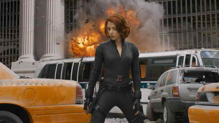 The Avengers Black Widow blowing things up