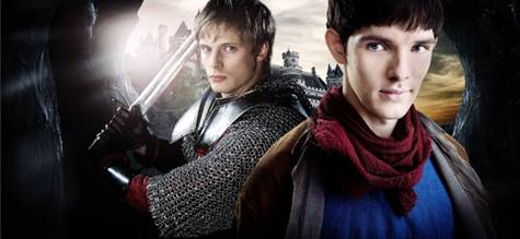 Arthur Bradley and Colin Morgan in 'Merlin'