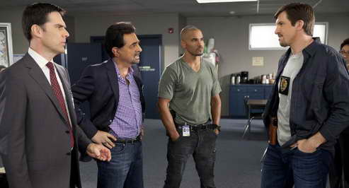 Joe Mantegna, Thomas Gibson, Shemar Moore and Dallas Clark in 'Criminal Minds'