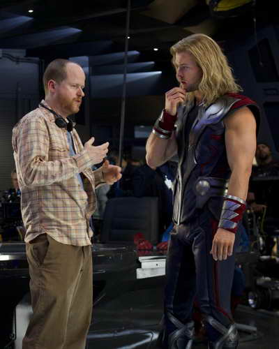 Joss Whedon and Chris Hemsworth in 'The Avengers'