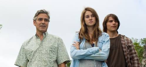 Review of 'The Descendants' - pictured - George Clooney, Shailene Woodley and Nick Krause