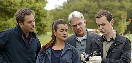 Mark Harmon, Sean Murray, Michael Weatherly and Cote de Pablo in the NCIS season finale