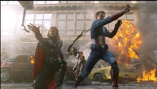 The Avengers Featurette - Thor (Chris Hemsworth) and Captain America (Chris Evens) Pictured