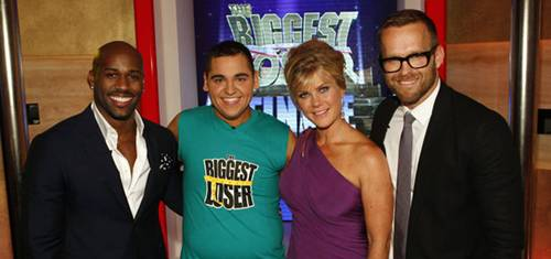 THE BIGGEST LOSER -- Season 13 Live Finale -- Pictured: (l-r) Dolvett Quince, Winner Jeremy Britt, Alison Sweeney, Bob Harper