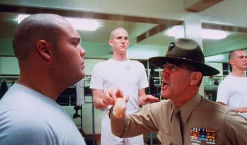Vincent D'Onofrio, R. Lee Ermey and Matthew Modine in 'Full Metal Jacket'